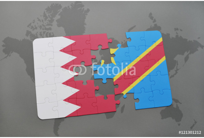 puzzle with the national flag of bahrain and democratic republic of the congo on a world map background. 64239