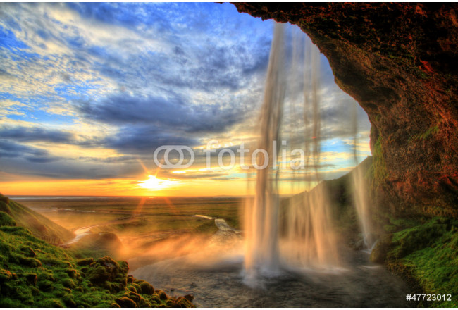 Seljalandfoss waterfall at sunset in HDR, Iceland 64239
