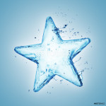 Star from water splash isolated on white 64239