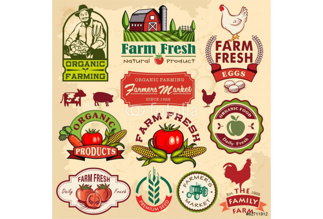 Painting Collection of vintage retro farm labels and design elements 64239