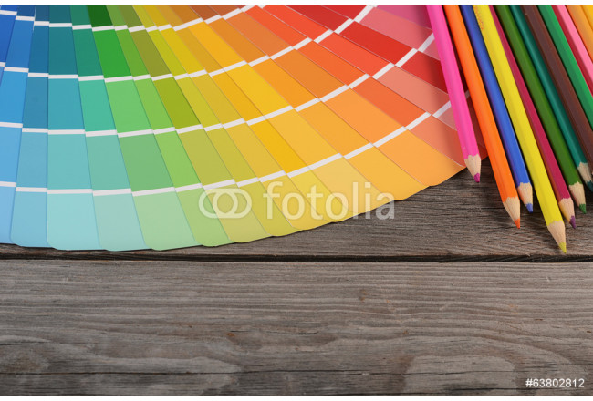 Color palette on the wooden background 64239