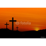 Crosses on a Hill Against an Orange Sunset 64239