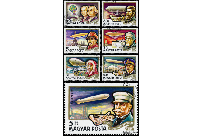 Stamp printed in Hungary shows History of Airships 64239