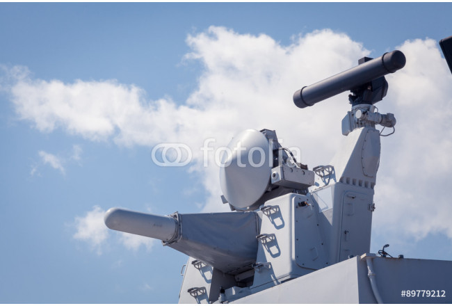 Modern weapons on the deck of a military ship. Weapon system for defense 64239