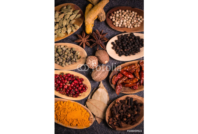 spices and herbs on wooden table , medicinal concept 64239