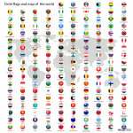 Circle flags of the world and map vector 64239