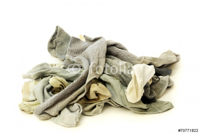 A lot of used socks isolated on a white background 64239