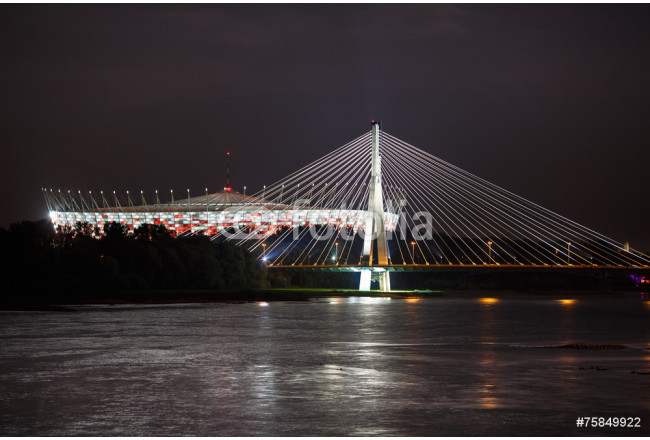 Night view of bridge and stadium in Warsaw 64239