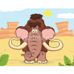 Woolly Mammoth Character.Illustration With Background 64239
