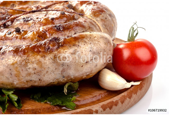Painting fried pork sausages on a wooden plate with cherry tomatoes and hot peppers 64239