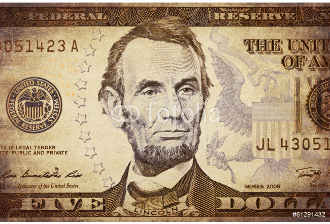 American president Lincoln on the five dollar banknote 64239