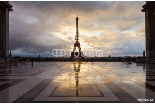Painting Eiffel Tower in Paris on the winter in sunrise 64239