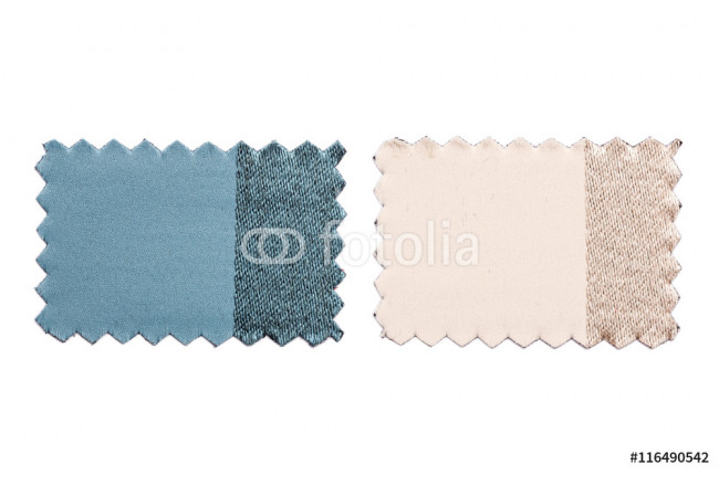 Obraz nowoczesny Set of sample pieces color fabric isolated on white 64239