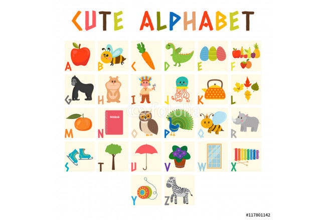 Children alphabet with cute cartoon animals and other funny elem 64239