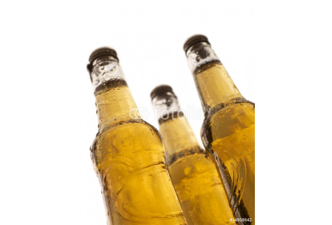 three bottles of beer with white background 64239