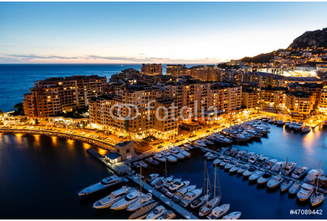 Quadro contemporaneo Aerial View on Fontvieille and Monaco Harbor with Luxury Yachts, 64239