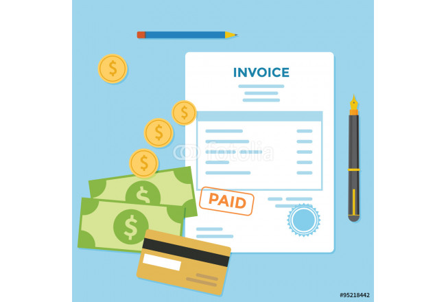 Invoice paper bill with money and credit card 64239