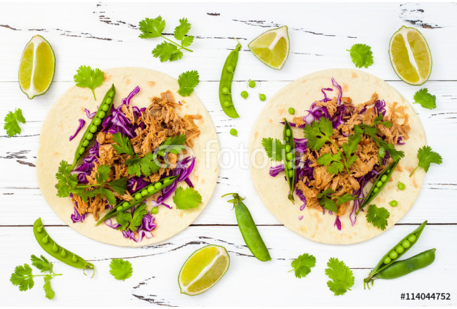Mexican tacos with meat, peas and purple cabbage 64239