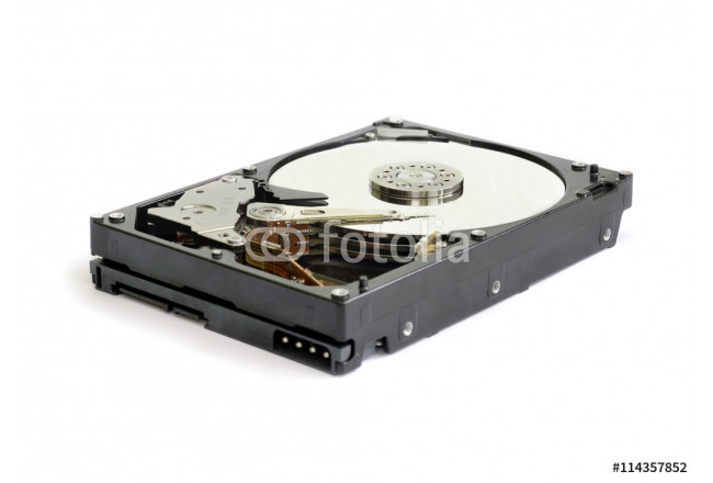 Inside of internal Harddrive HDD isolated on white background 64239