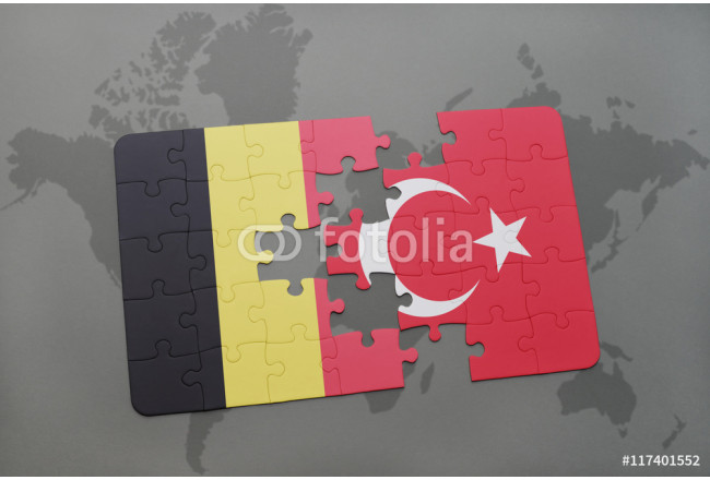 puzzle with the national flag of belgium and turkey on a world map background. 64239