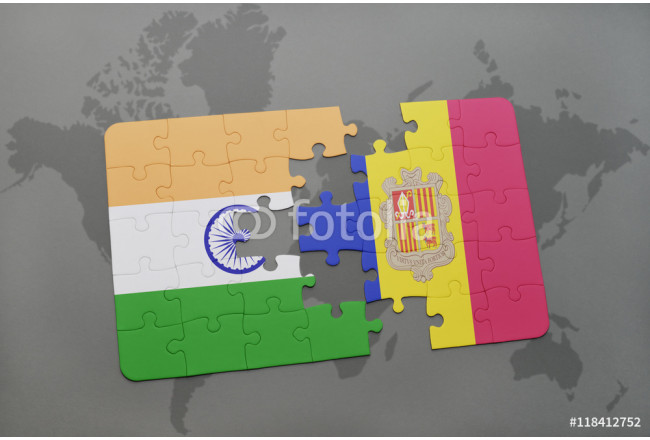 puzzle with the national flag of india and andorra on a world map background. 64239