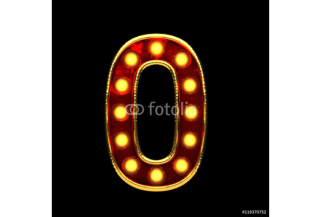 0 isolated golden letter with lights on black. 3d illustration 64239