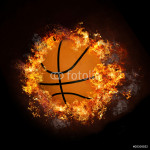 Basketball on hot fire smoke with black background 64239