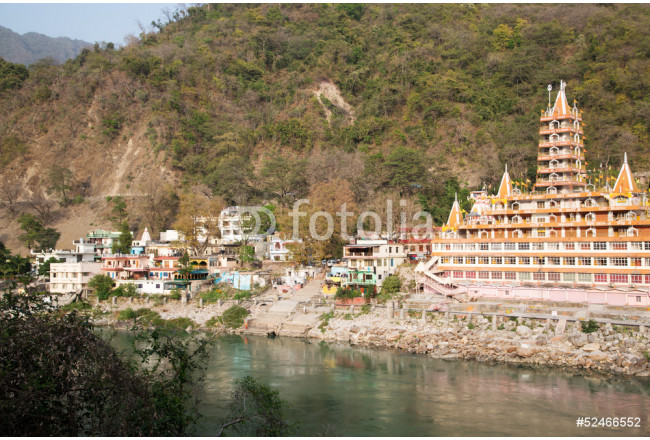 Art painting Rishikesh-panorama-with-temple-on-the-river-Ganges 64239