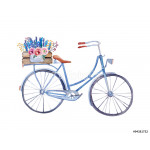 watercolor vintage  bicycle with box of flowers. 64239