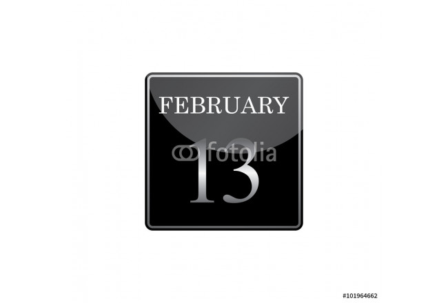 13 february calendar silver and glossy 64239