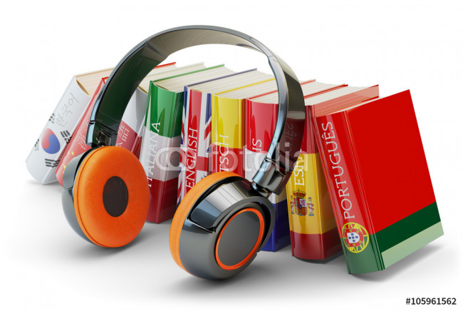 Foreign languages learning and translate, communication and education concept, audio books with covers in colors of national flags of world countries and modern headphones isolated on white 64239
