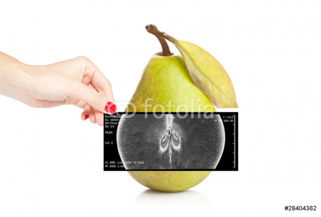 Female doctor holding an x-ray revealing inner view of a pear 64239