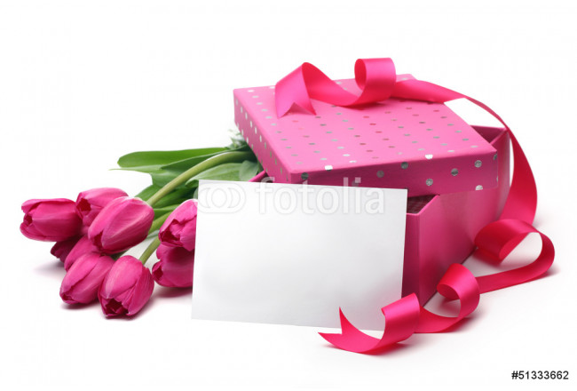 Pink tulips,blank card and gift box 64239