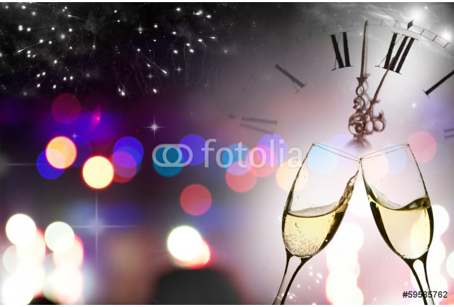 Glasses with champagne against fireworks and clock 64239