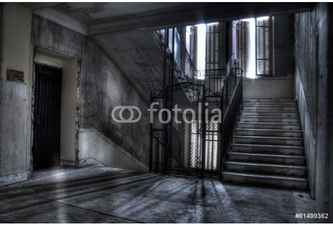 staircase and elevator shaft shadows and light 64239