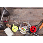 closeup ice fishing tackles and equipment 64239