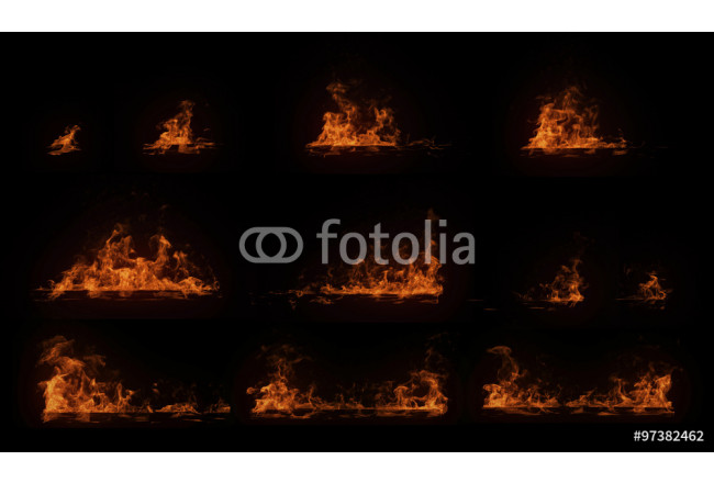 A set of burning horizontal wood beam with particles, perfect for digital composition 64239