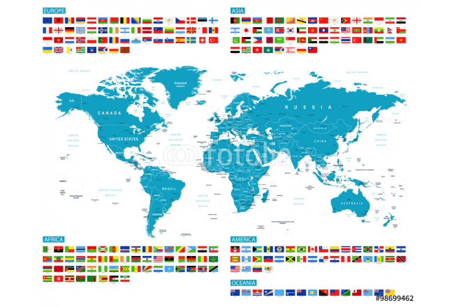 All Flags and World Map. Murena. Vector Collection of World Flags and Map. 64239