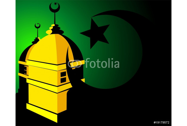 mosque with domes, stars and moon 64239
