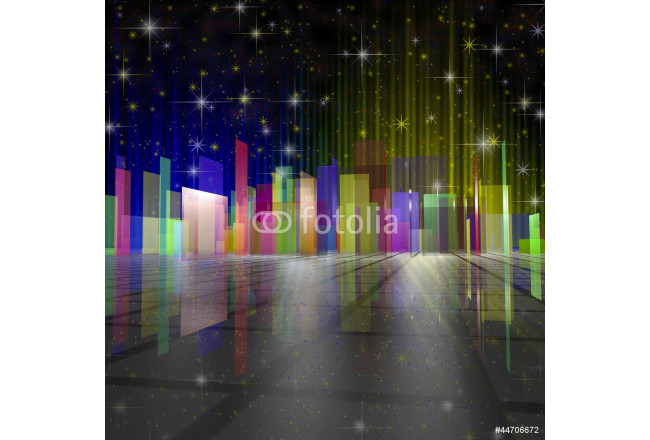 city night colourful illustration with stars 64239