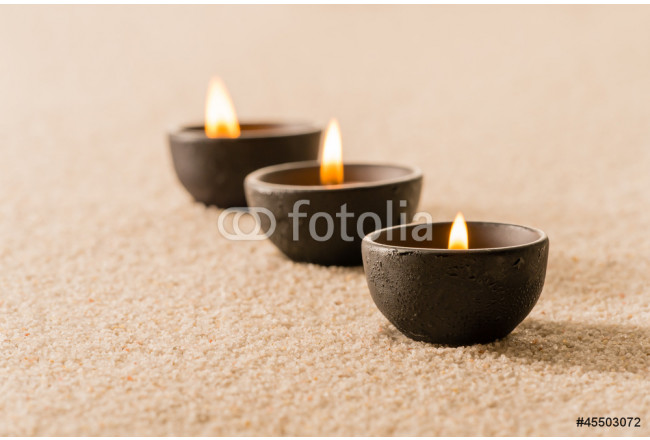 Spa therapy three candles on sand 64239