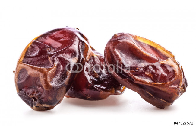 Sun-dried dates fruit on white background 64239
