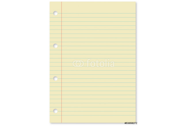 Vector of yellow page with holes and blue lines 64239