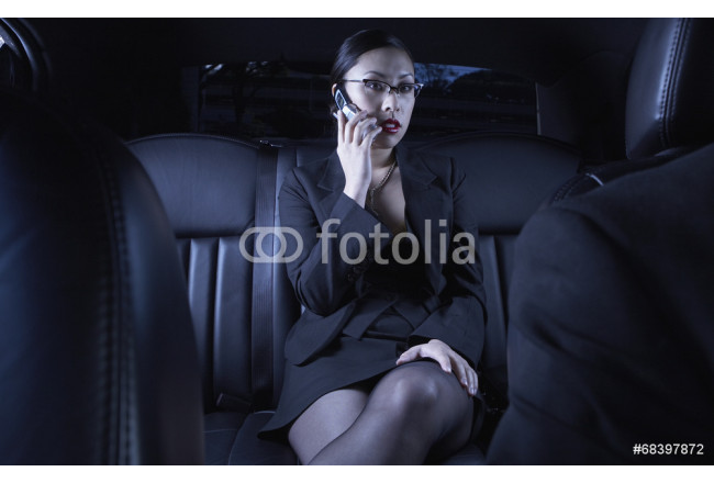 Asian businesswoman using cell phone in back seat of car 64239