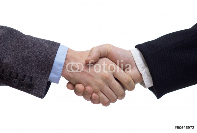 Businessmen shaking hands, isolated on white. Closeup 64239