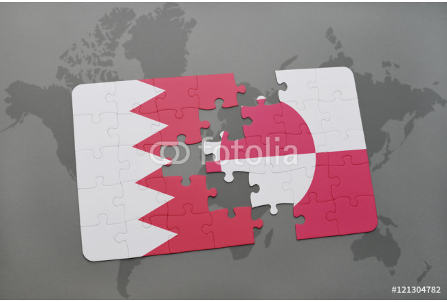 puzzle with the national flag of bahrain and greenland on a world map background. 64239