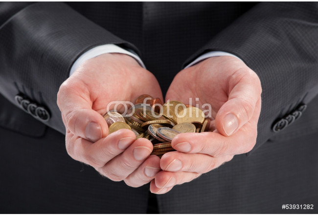 Hands holding finance coins 64239