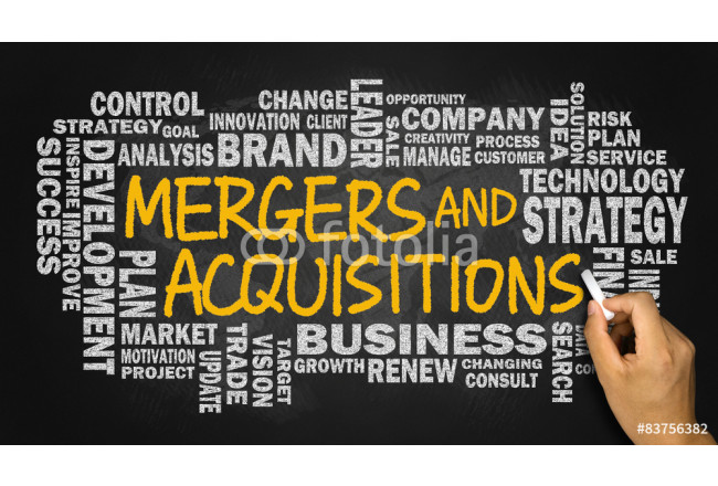 mergers and acquisitions with business word cloud handwritten on 64239