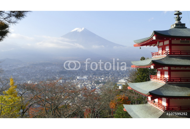 Beautiful of Mt. Fuji with fall colors in Japan 64239