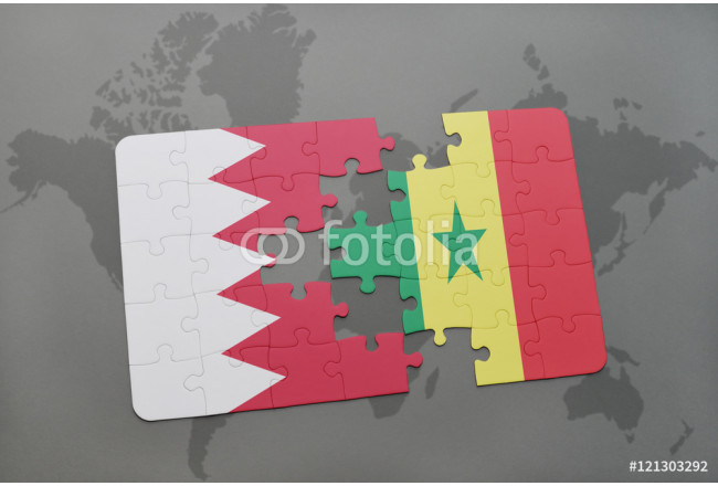 Bild auf Leinwand puzzle with the national flag of bahrain and senegal on a world map background. 64239
